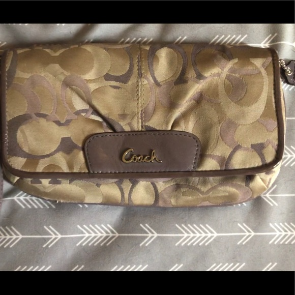 Coach Handbags - Purple and taupe COACH wallet/clutch